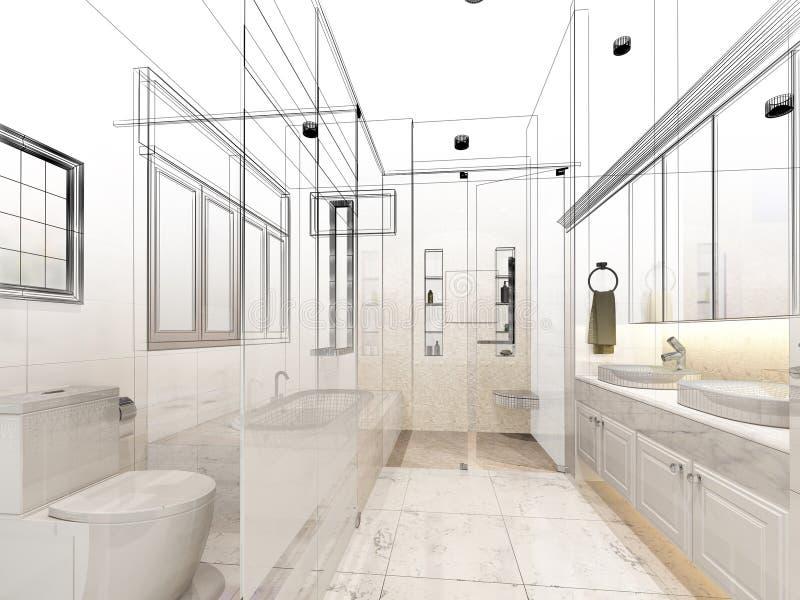 Projeto abstrato do esboço do banheiro interior ilustração stock