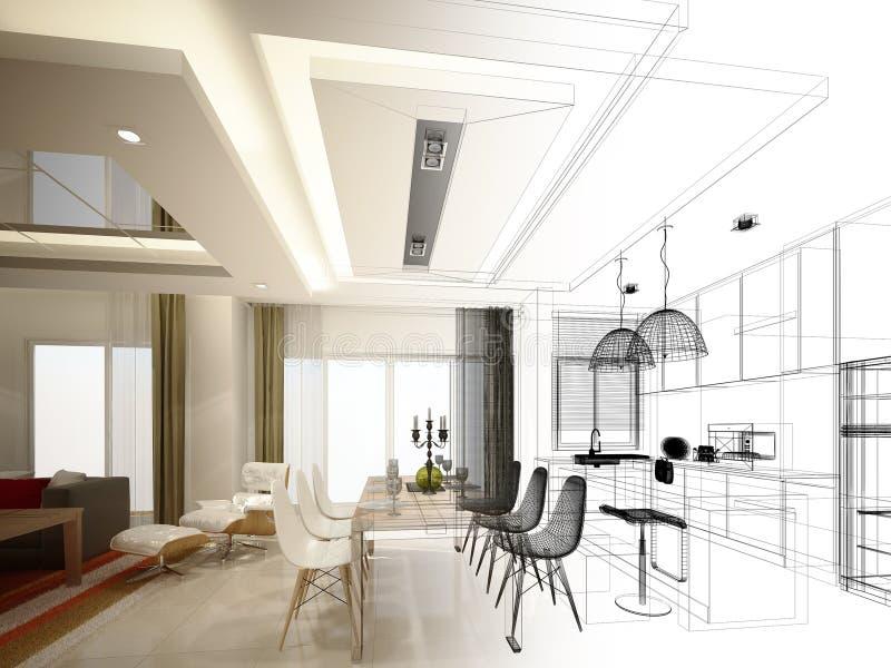 Projeto abstrato do esboço do jantar do interior e da sala da cozinha, 3d