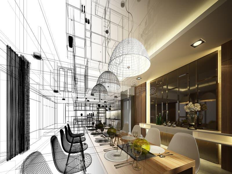 Projeto abstrato do esboço do jantar interior ilustração royalty free
