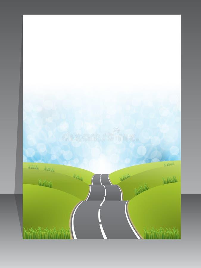 Projeto abstrato do folheto com fundo da estrada ilustração royalty free