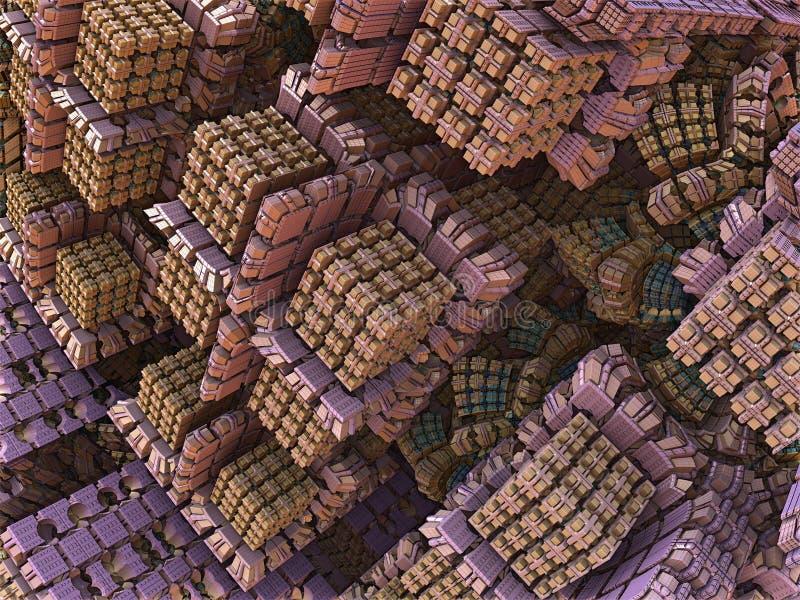 Projeto abstrato do Fractal das caixas cor-de-rosa dos doces ilustração stock