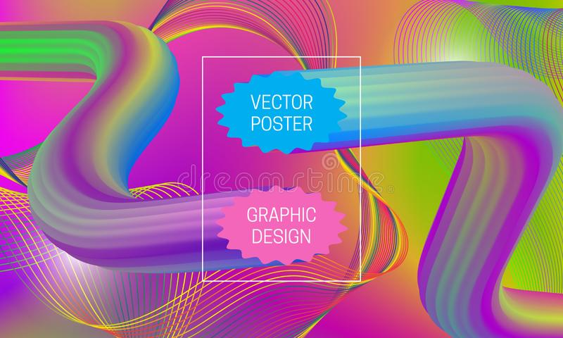 Projeto abstrato do fundo com formas líquidas do fluxo e elementos iridescentes do guilloche Molde dinâmico do cartaz da música ilustração royalty free