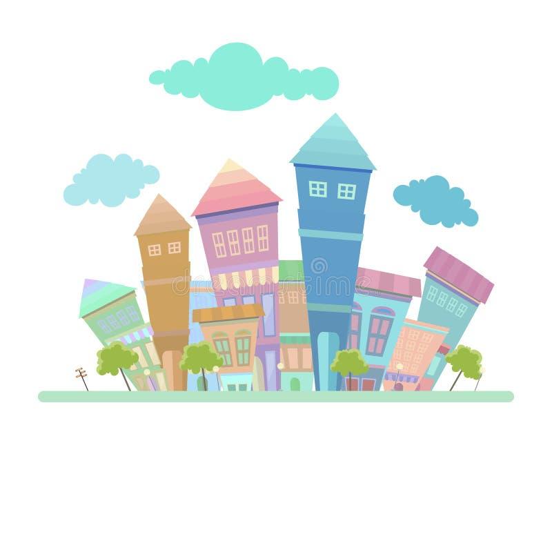 Projeto abstrato do fundo da cidade com cor lisa ilustração do vetor