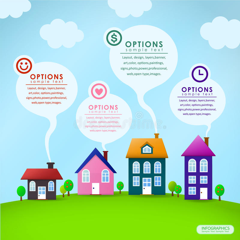 Projeto abstrato do infographics da casa ilustração do vetor