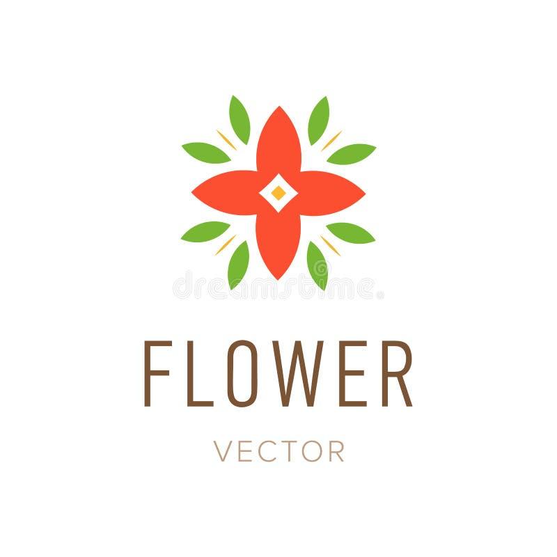 Projeto abstrato do logotipo da flor, símbolo floral do estilo do molde isolado Ícone ou emblema bonito ilustração do vetor
