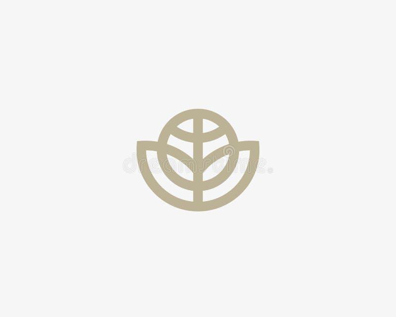 Projeto abstrato do logotipo do vetor da flor de globo Logotype global do eco da folha Símbolo linear do ícone da bola da equipe  imagem de stock royalty free