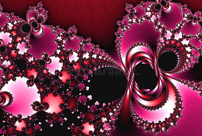 Projeto abstrato do teste padrão do fundo do fractal do vinho de luzes do feriado e estrelas ou flocos de neve abstratos ilustração do vetor