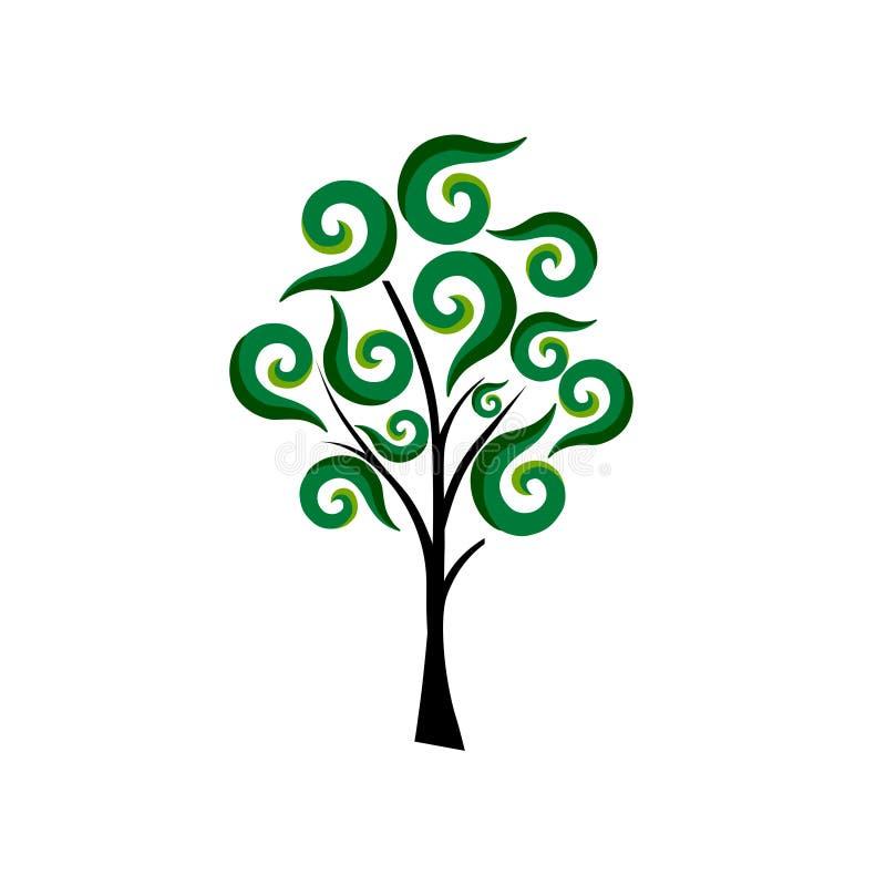 Projeto abstrato do vetor do ambiente do bem-estar da ecologia do símbolo do ícone do logotipo da planta da árvore ilustração royalty free
