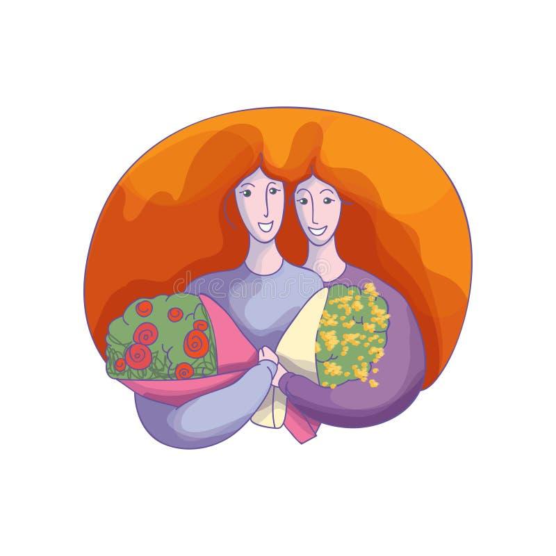 Projeto abstrato do vetor de duas mulheres de aperto com ramalhetes da flor Elemento para o cartão do 8 de março ilustração stock