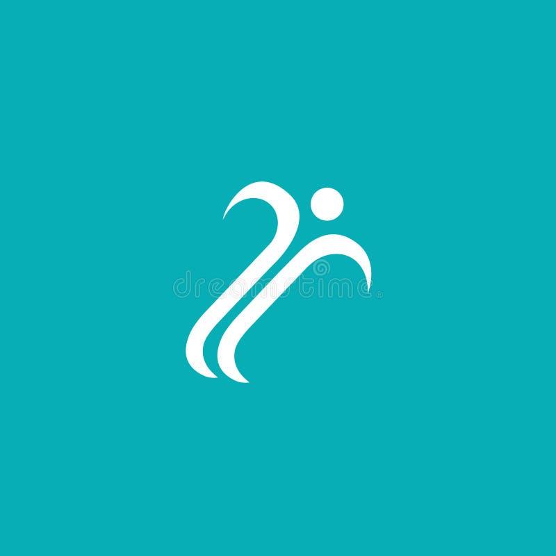 Projeto abstrato do vetor do logotipo do atleta Gym, jogos dos esportes, aptidão, negócio, logotipo do vetor do instrutor ilustração royalty free
