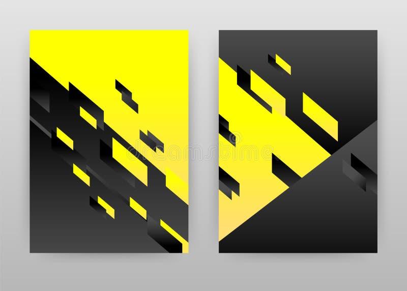 Projeto abstrato geométrico amarelo e preto para o informe anual, folheto, inseto, cartaz Ilustração preta amarela do vetor do fu ilustração royalty free