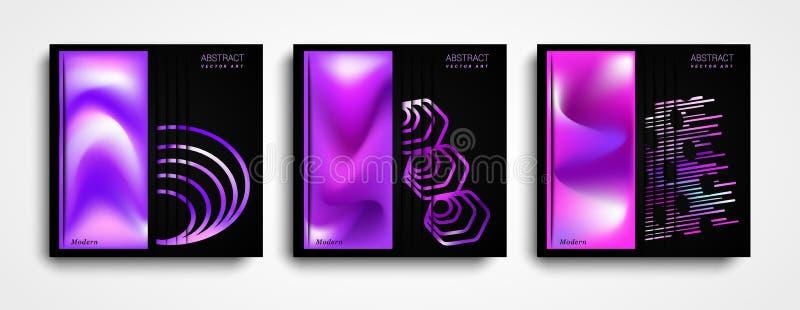 Projeto abstrato moderno brilhante Molde moderno do vetor Ajuste da ilustração gráfica fluida colorida da composição ilustração royalty free