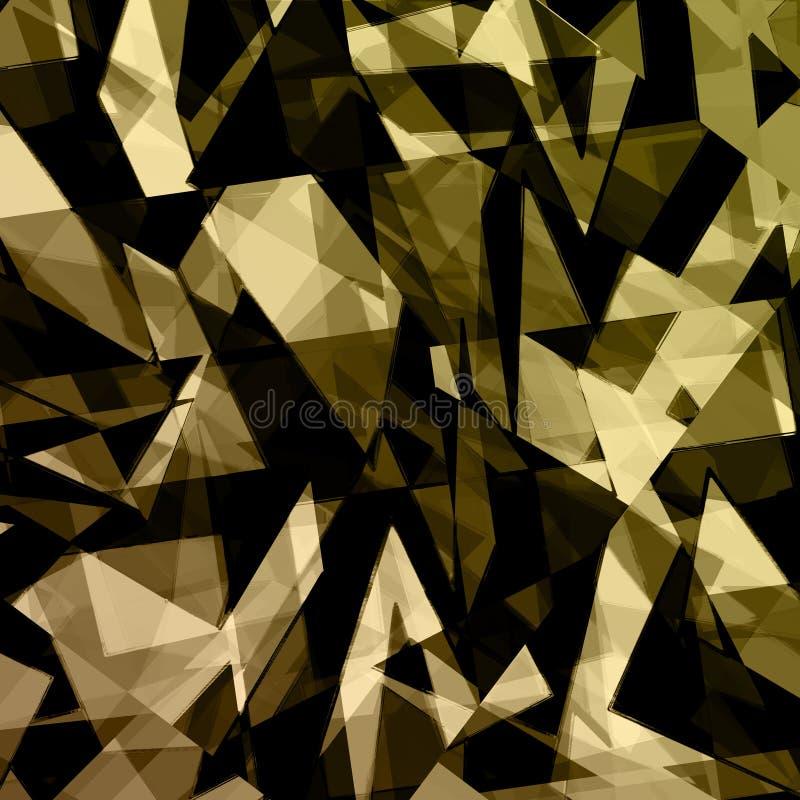 projeto abstrato preto do fundo do ouro ilustração royalty free