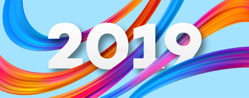 Projeto acrílico da bandeira do ano 2019 novo ilustração royalty free