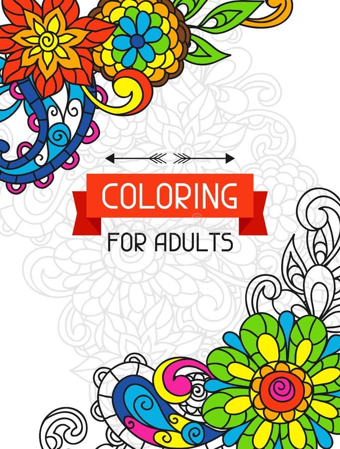 Projeto adulto do livro para colorir para a tampa Ilustração ilustração do vetor