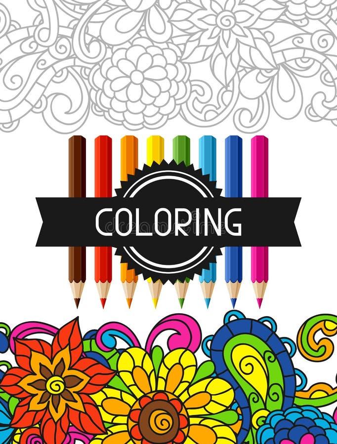 Projeto adulto do livro para colorir para a tampa Ilustração ilustração royalty free