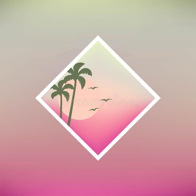 Projeto agradável do ícone da praia do por do sol ilustração do vetor