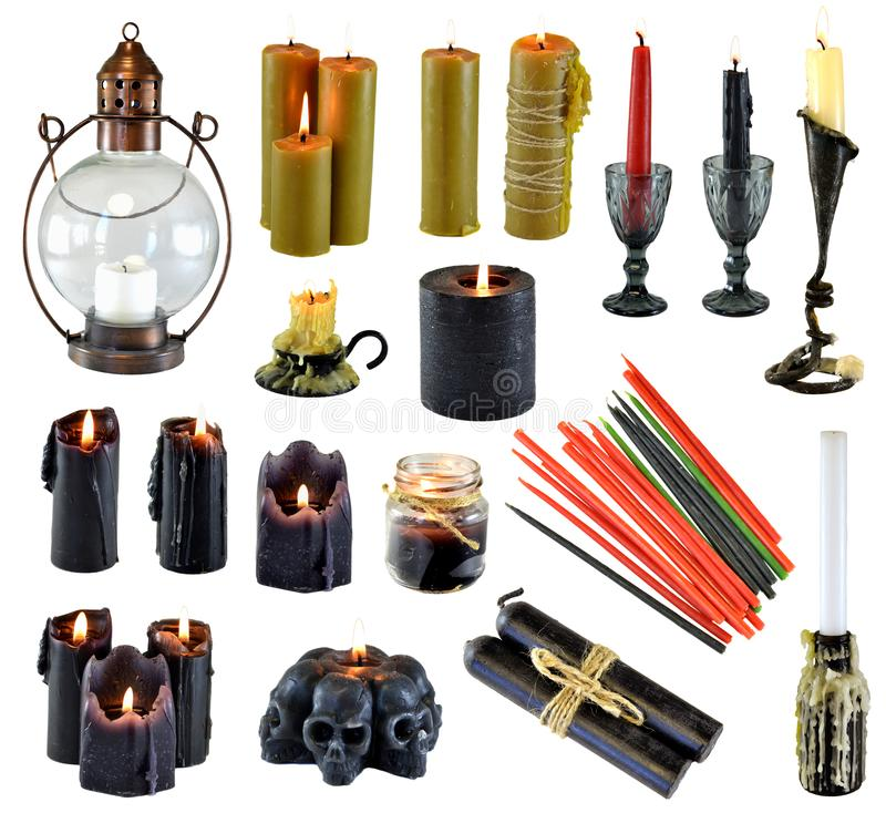 Projeto ajustado com queimadura das velas vermelhas e coloridas pretas isoladas no branco fotos de stock
