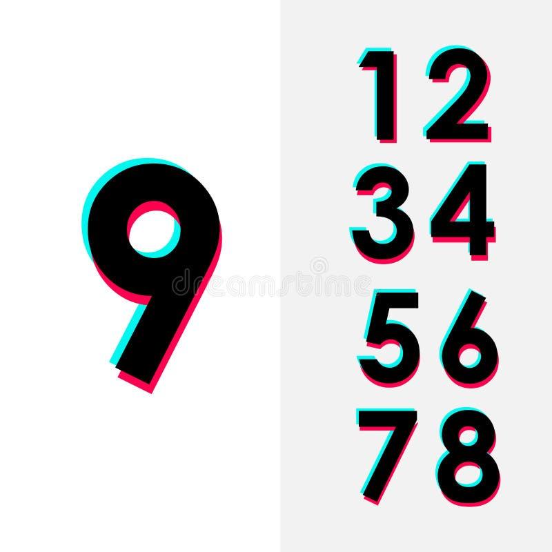 Projeto ajustado da ilustração do projeto do molde do vetor do número 9 para a celebração do aniversário ilustração do vetor