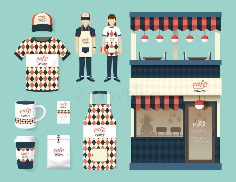 Projeto ajustado da parte dianteira da loja do café do restaurante do vetor, inseto, menu ilustração stock