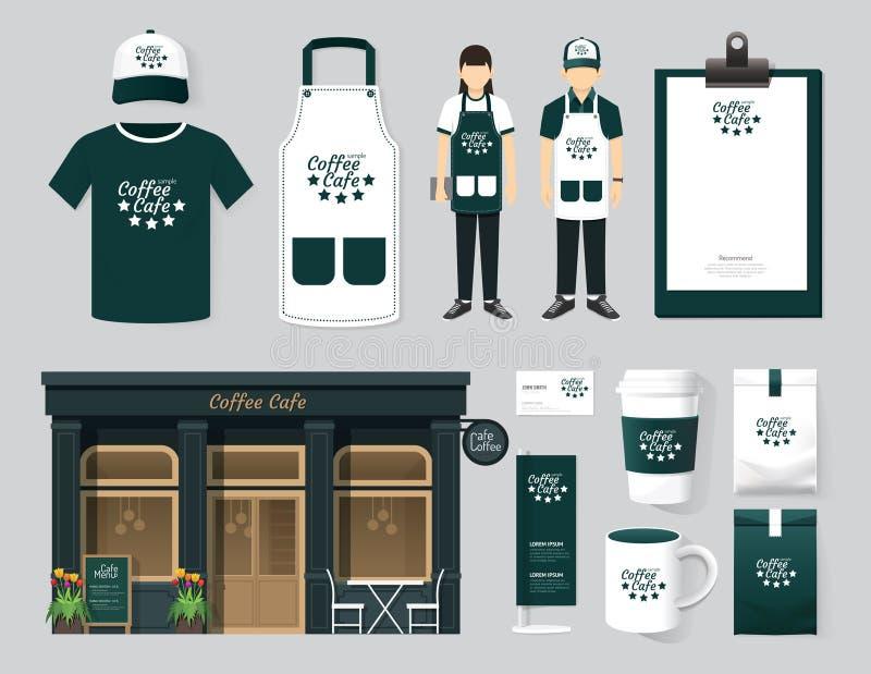 Projeto ajustado da parte dianteira da loja do café do restaurante do vetor, inseto, menu, packa ilustração stock