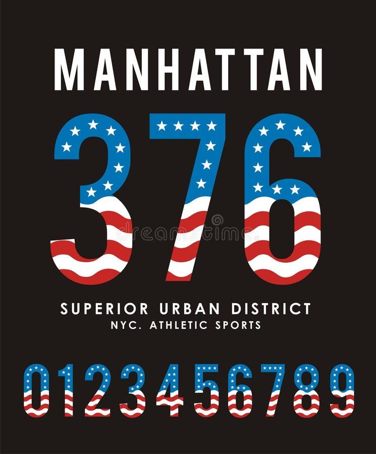 Projeto ajustado da tipografia dos EUA da bandeira do número de Manhattan ilustração do vetor