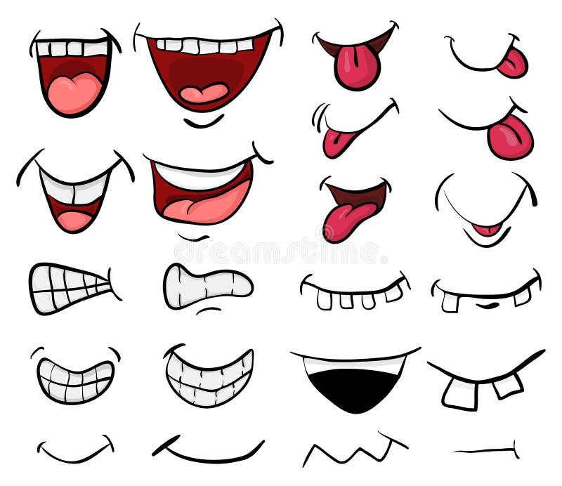Projeto ajustado do ícone do símbolo do vetor da boca dos desenhos animados Illustrat bonito ilustração stock