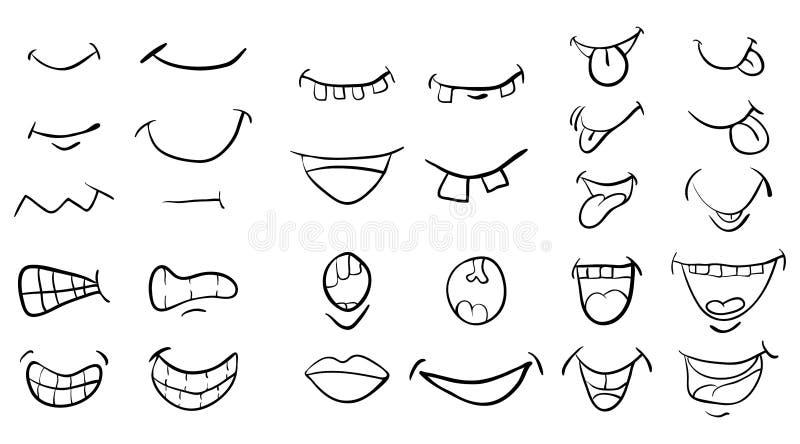 Projeto ajustado do ícone do símbolo do vetor da boca dos desenhos animados Illustrat bonito ilustração do vetor