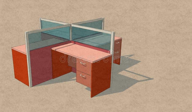 Projeto ajustado do esboço da tabela de quatro escritórios imagens de stock