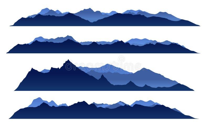 Projeto ajustado do vetor do Mountain View de céu azul ilustração stock