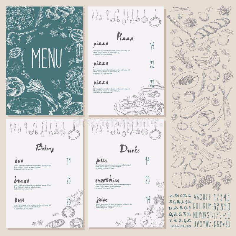 Projeto ajustado do vintage do menu do alimento do restaurante com quadro ilustração do vetor