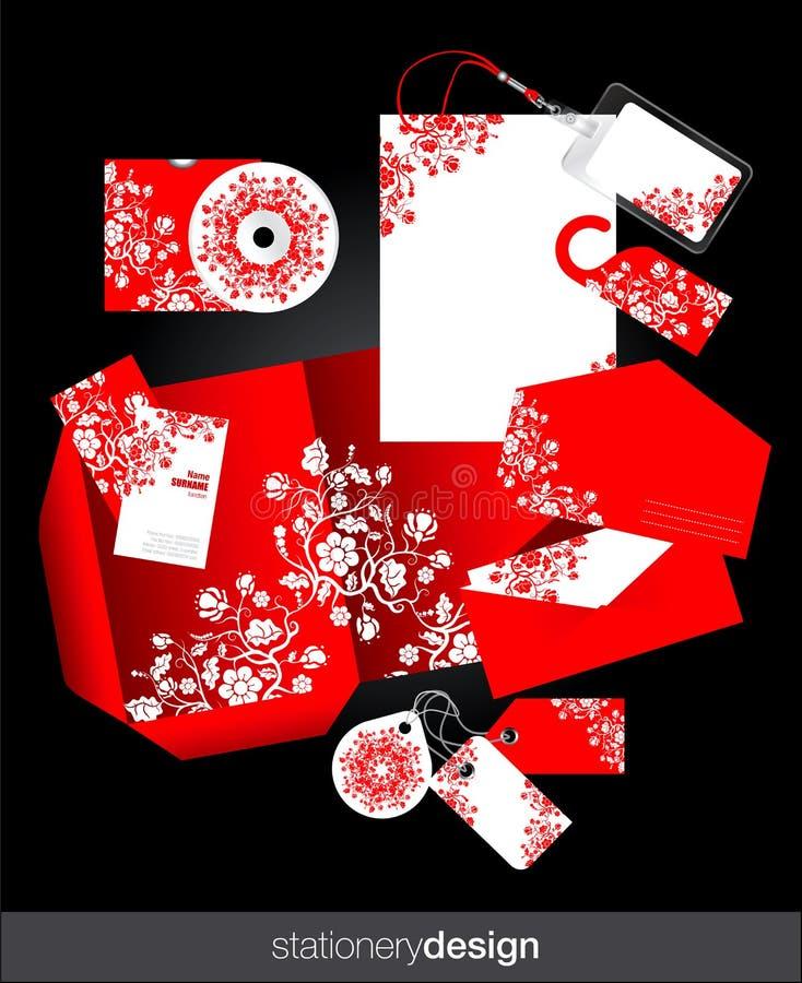 Projeto ajustado dos artigos de papelaria vermelhos ilustração royalty free