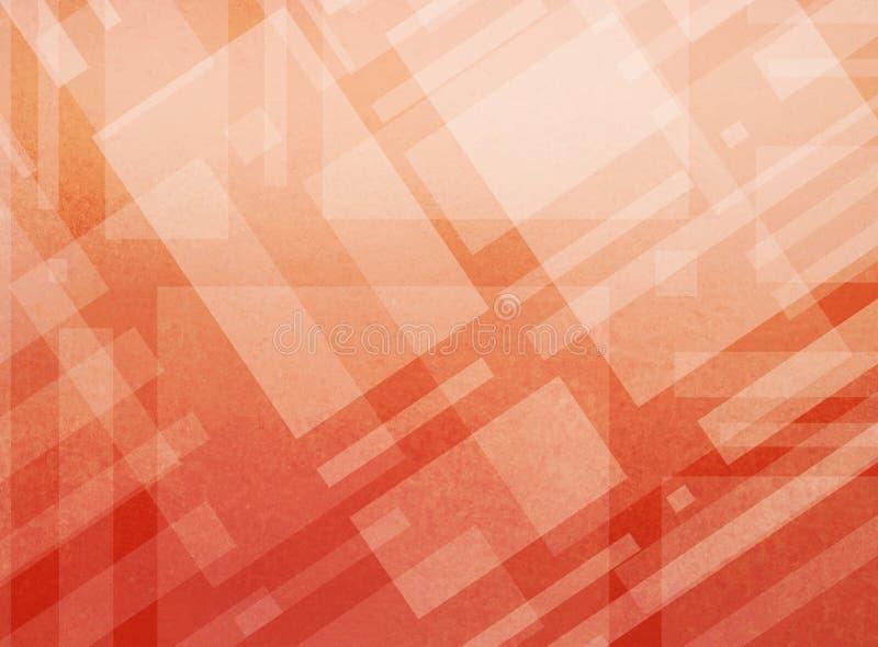 Projeto alaranjado moderno do vermelho do sumário e o branco do fundo com camadas de formas e de linhas do bloco ilustração royalty free