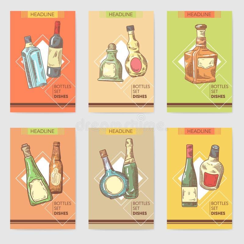 Projeto alcoólico tirado mão do menu das garrafas Vinho, esboço da garrafa do conhaque ilustração do vetor