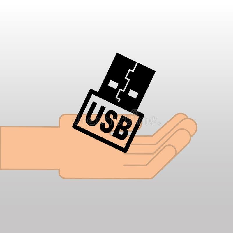 Projeto alternativo do ícone da memória de USB ilustração do vetor