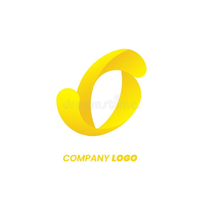 Projeto amarelo do logotipo da letra de O, inclinação abstrato do redemoinho afiado Emblema dinâmico futurista Ícone do molde do  ilustração do vetor
