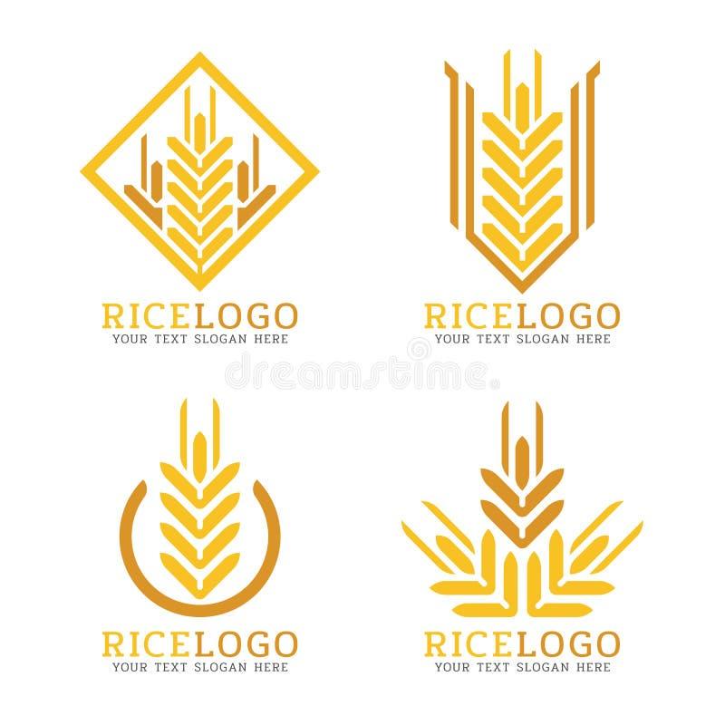Projeto amarelo do vetor do estilo da forma do sumário do logotipo do arroz do trigo ilustração royalty free