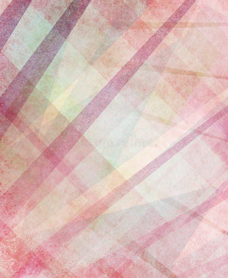 Projeto amarelo e branco cor-de-rosa vermelho abstrato do fundo com ângulos e textura das listras ilustração stock