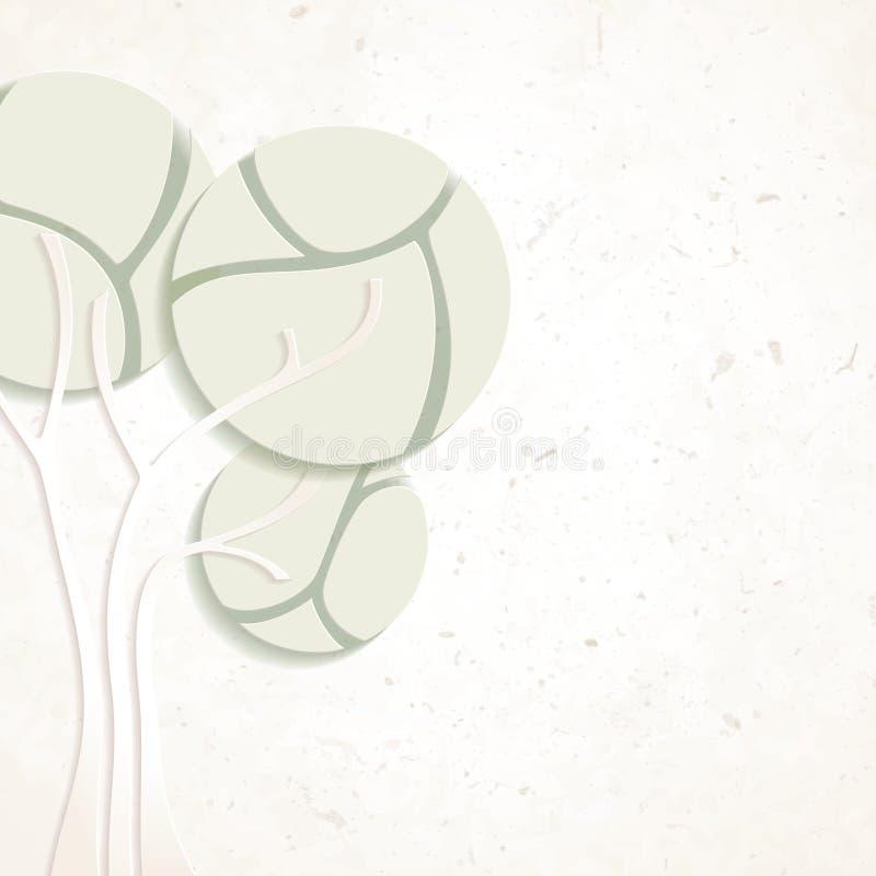 Projeto ambiental com textura de papel e árvore ilustração stock