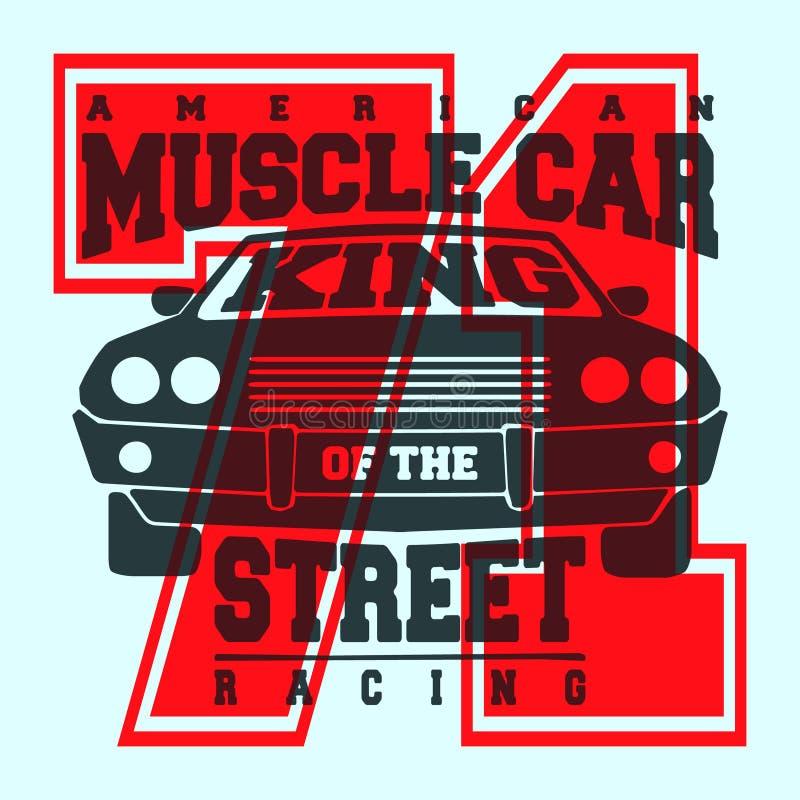 Projeto americano da cópia da camisa do carro t do músculo ilustração do vetor