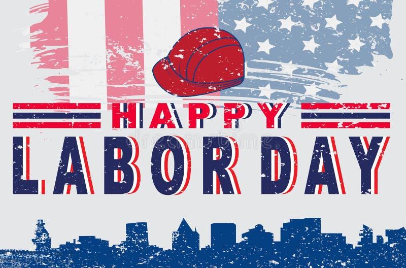 Projeto americano feliz do cartaz da tipografia do Dia do Trabalhador ilustração royalty free