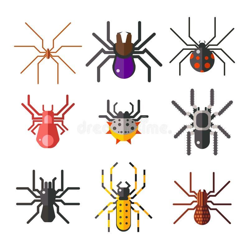 Projeto animal assustador liso gráfico do medo do aracnídeo da silhueta da Web de aranha ilustração royalty free