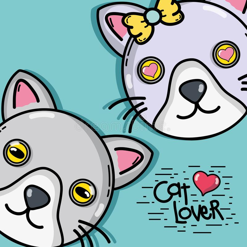 Projeto animal dos pares bonitos do gato ilustração stock