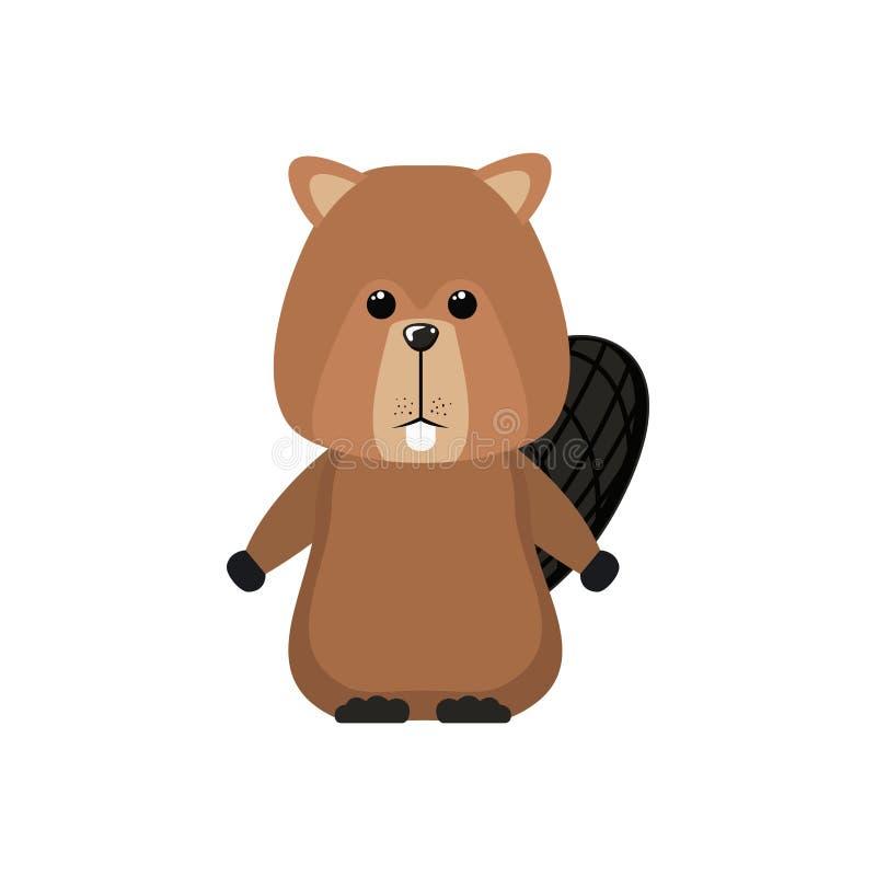 Projeto animal isolado da floresta do castor ilustração do vetor
