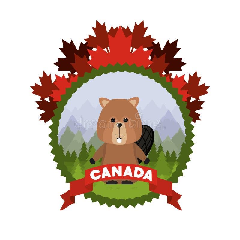 Projeto animal isolado da floresta do castor ilustração royalty free