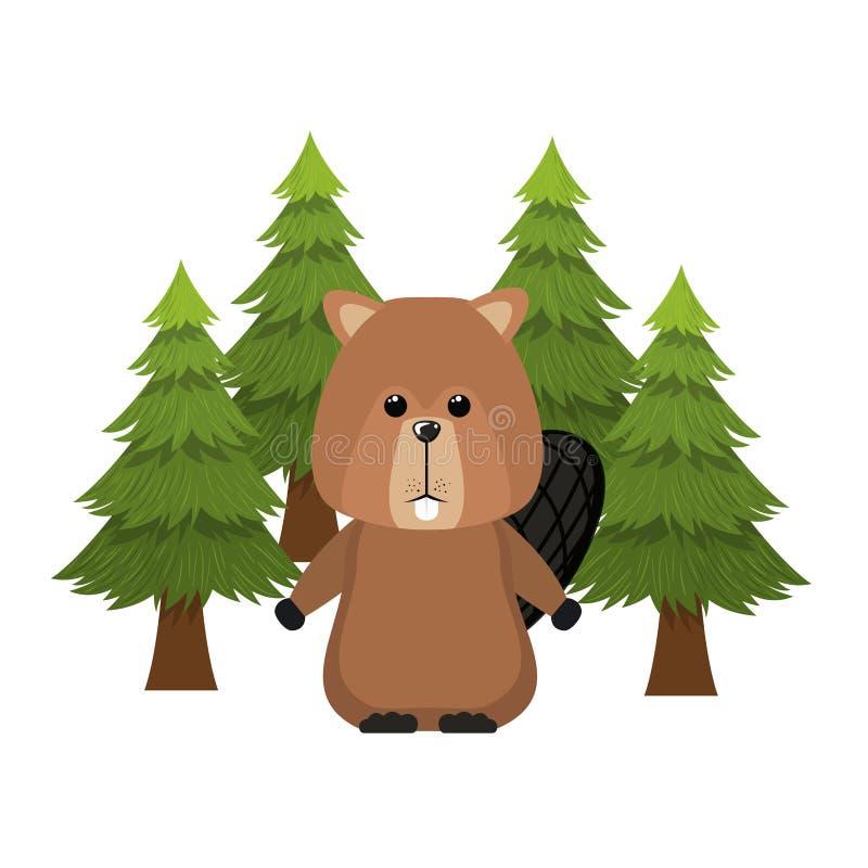 Projeto animal isolado da floresta do castor ilustração stock