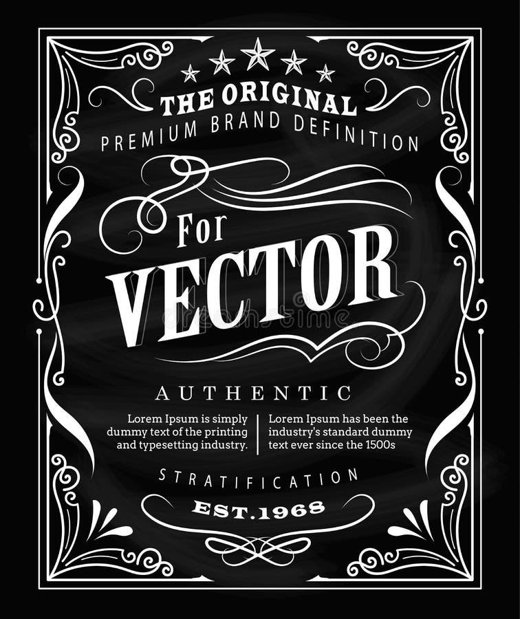Projeto antigo do quadro-negro do quadro do vintage do cartaz da tipografia da etiqueta ilustração do vetor