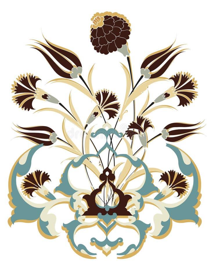 Projeto antigo do ramalhete do otomano ilustração do vetor