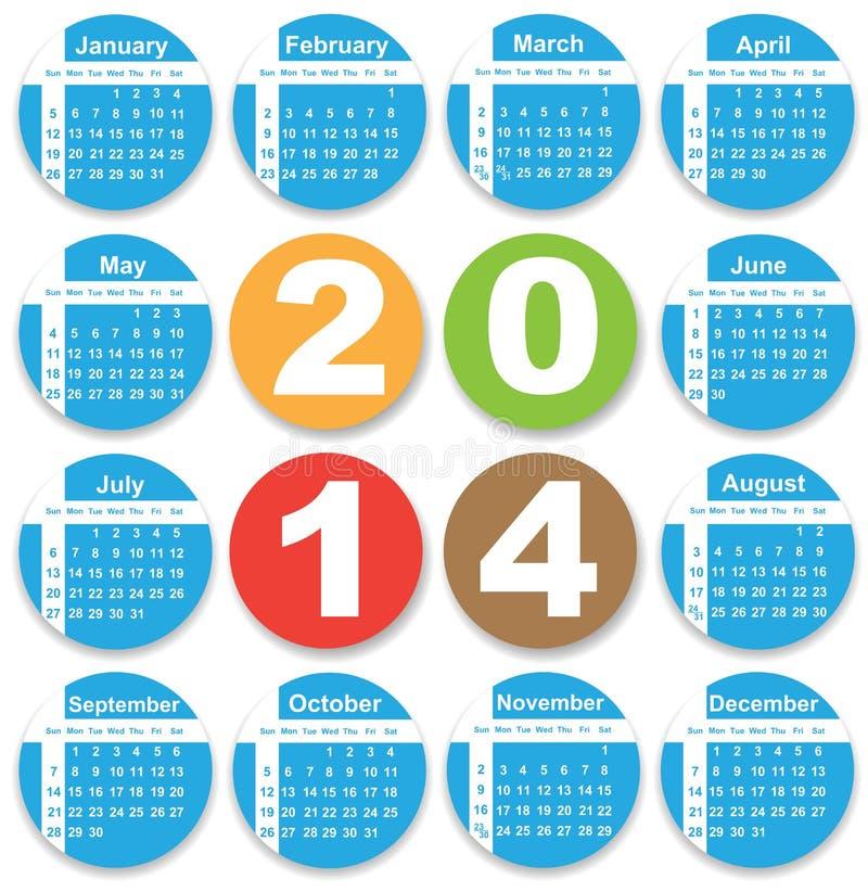 Projeto anual do calendário para 2014 ilustração stock