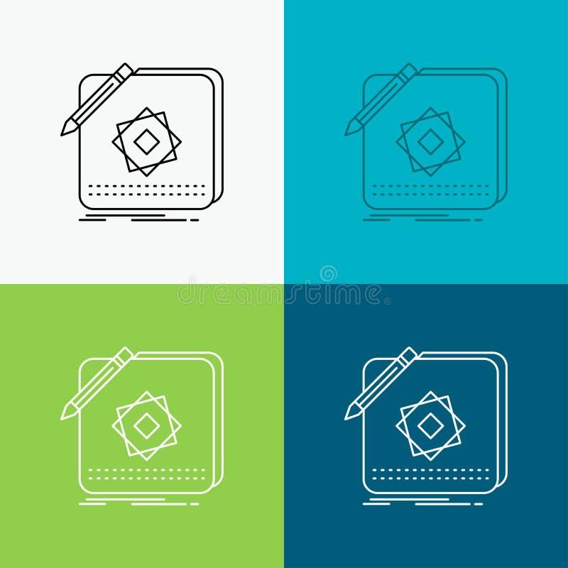 Projeto, App, logotipo, aplica??o, ?cone do projeto sobre o v?rio fundo Linha projeto do estilo, projetado para a Web e o app Vet ilustração do vetor